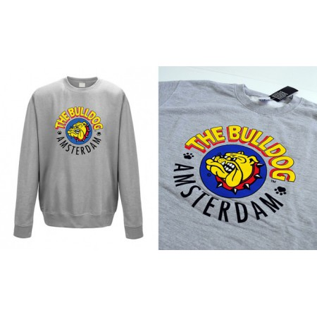 THE BULLDOG FELPA GRIGIA GIROCOLLO STAMPA LOGO ORIGINALE