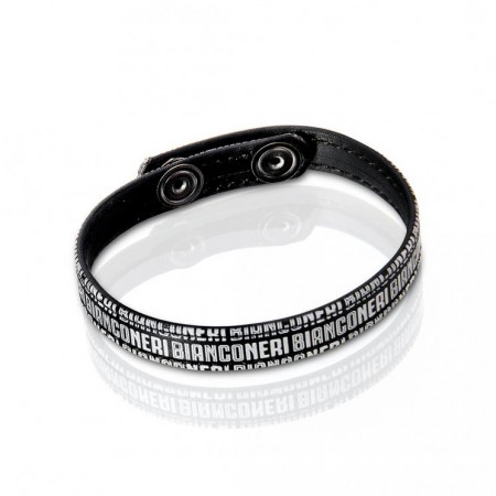 BRACCIALE BIANCONERI IN PU-LEATHER NERO Juventus