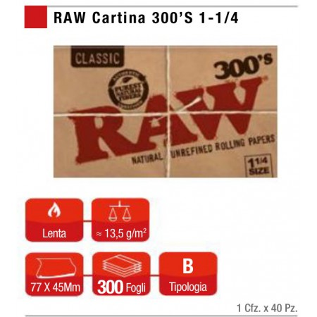 RAW CLASSIC CARTINA 300'S 1 1/4