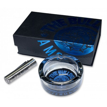 THE BULLDOG POSACENERE VETRO & ACCENDINO CLIPPER METAL DE LUXE LIMITED EDITION