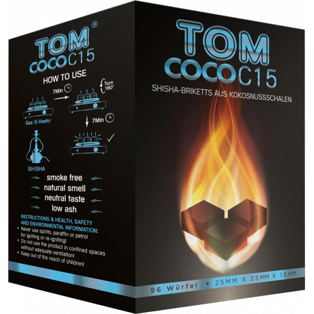 TOM Cococha BLU C15 - 1KG CARBONCINI NARGHILE' LEGNO DI COCCO